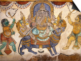 Frescoes on Walls of Inner Courtyard  Brihadishwara Temple  Thanjavur  India