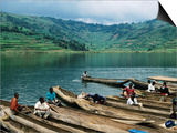 Villagers in Dugout Canoes at Market  Lake Bunyonyi  Kabale  Uganda