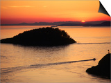 Deception Pass at Sunset from Lighthouse Trail  Whidbey Island  Washington