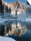 Yosemite Falls in Winter Reflected in the Merced Rive