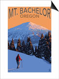 Mt Bachelor and Skier - Oregon