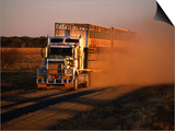 Road Train Driving along Dusty Road  Kynuna  Australia