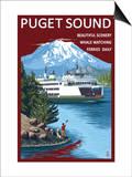 Ferry and Mount Rainier Scene - Puget Sound  Washington