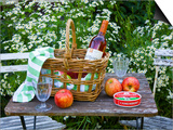 Still-Life with Wine  Cheese and Apples  in the Garden of a House in St Denis Le Ferment