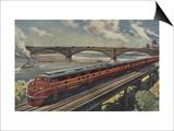 St Louis  Missouri  Gulf Mobile & Ohio Train by River - St Louis  MO