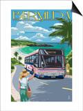 Bermuda - Pink Bus on Coastline