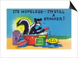 Comic Cartoon - Skunk Bathing; It's Hopeless  I'm Still a Stinker