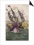 Kraken Attacks a Sailing Vessel