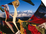 Buddhist Prayer Flags Framing Kangchenjunga Peak (8586M)  Singali Ridge