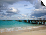 Jetty on Cancun Beach  with Grey Clouds Overhead