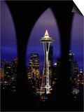 Space Needle at Night  Seattle  Washington  USA