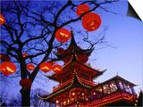Chinese Pagoda and Tree Lanterns in Tivoli Park  Copenhagen  Denmark