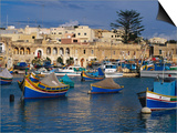 Luzzus  Traditional Fishing Boats Moored in Harbour  Marsaxlokk  Malta