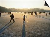 Ice Hockey on Frozen Katzensee Lake  Zurich  Switzerland