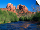 Cathedral Rock Above Oak Creek at Red River Crossing  Sedona  Arizona