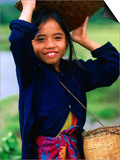 Portrait of Girl Balancing Basket of Herbs  Muang Ngoy  Laos