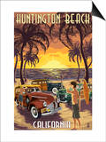 Huntington Beach  California - Woodies and Sunset