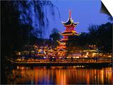 Tivoli Gardens Chinese Pagoda Restaurant at Night  Copenhagen  Denmark