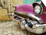 1957 Chevy Bel-Air Car Front Grill and Bumper in Cobbled Street  Trinidad  Cuba