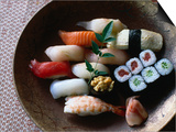 Sushi in a Wooden Bowl  Japan