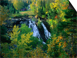 Waterfall and Autumn Colours with House in Background  Silver River Falls  Keweenaw County  USA