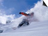 Snowboarder Carving Through Powder Snow  St Anton Am Arlberg  Tirol  Austria