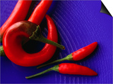 Red Chilli Peppers on a Blue  Patterned Plate  Australia