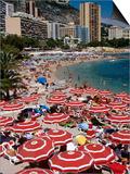 Overhead of Red Sun Umbrellas at Larvotto Beach on Busy Summer's Day  Monte Carlo  Monaco