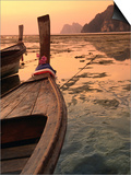 Longtail Boat with Decoration to Appease Spirits on Ao Ton Sai Beach  Ko Lanta Yai  Krabi  Thailand