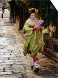 Maiko Walking Along Street in Gion  Kyoto  Japan