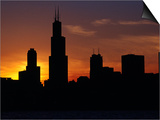 The Sears Tower and Skyline at Sunset  Chicago  USA