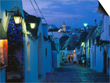 Typical Cobbled Lane in Trulli District at Dusk  Alberobello  Puglia  Italy