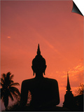 Buddha Against a Sunset at Wat Mahathat  Sukhothai  Thailand