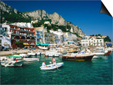 Boats in Marina Grande Harbour  Capri  Campania  Italy