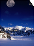 High Moon Over the Ruth Ampitheatre on Ruth Glacier  Denali National Park & Preserve  Alaska  USA