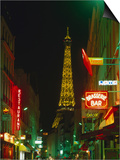 Eiffel Tower from Rue St Dominique at Night Paris  France