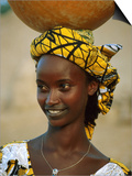 Smiling Peul (Or Fula) Woman Balancing Calabash on Her Head  Djenne  Mali
