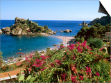 Populated Island Coastline  Isole Bella  Sicily  Italy