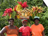 Grenadian Women Carrying Fruit on Their Heads near Annandale Falls  St George  Grenada