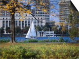 Sailing off the Esplanade on the Charles River  Boston  Massachusetts  USA