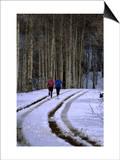 Women Jogging in a Wintery Park City  Park City  Utah  USA