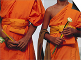 Orange-Robed Monks at Phra Pathom Chedi  the World's Talles Buddhist Monument