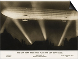 Zeppelin Illuminated by Searchlights