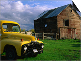 Old Barn and Yellow Pick-Up Truck in Montana  Montana  USA