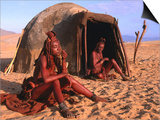 Himba Women in Front of Traditional Hut  Kaokoveld  Kunene  Namibia