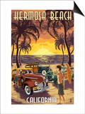 Hermosa Beach  California - Woodies and Sunset