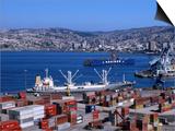 Cargo Ships in City Port  Valparaiso  Chile