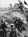 German Soldiers Attacking Out of a Trench During World War I