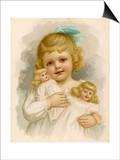 Little Girl with a Blue Ribbon in Her Hair Clutching Her Dolls