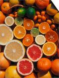 Citrus Fruits  Orange  Grapefruit  Lemon  Sliced in Half Showing Different Colours  Europe